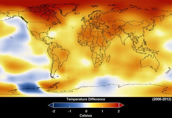 Media de anomalías de temperatura entre 2008 y 2012. / NASA / GISS